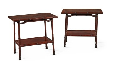 View 5. Thumbnail of Lot 141. A PAIR OF CHINESE HARDWOOD OCCASIONAL TABLES, EARLY 20TH CENTURY.