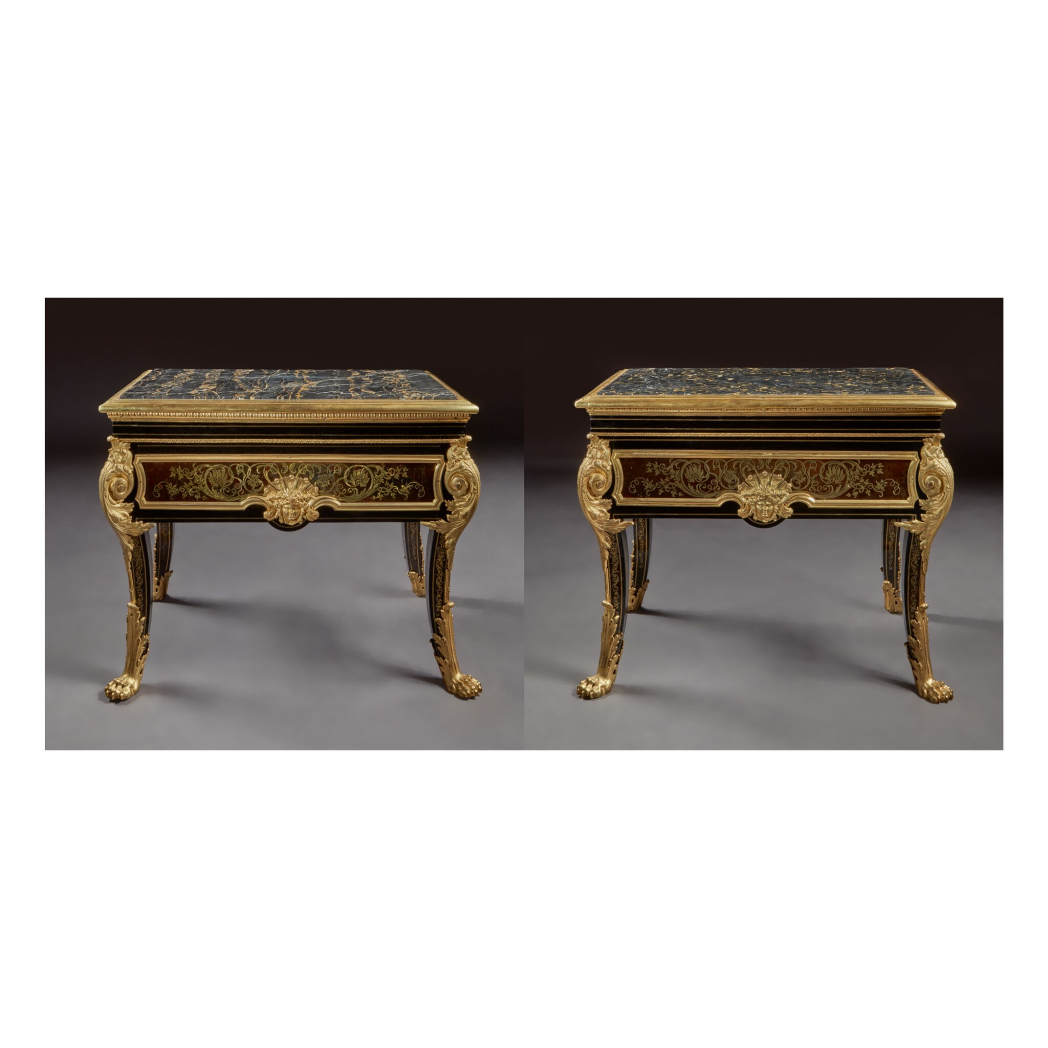 A PAIR OF LOUIS XIV GILT BRONZE-MOUNTED EBONY AND BRASS AND TORTOISESHELL PREMIERE PARTIE MARQUETRY TABLES EN HUCHE ATTRIBUTED TO ANDRE-CHARLES BOULLE, CIRCA 1700, PROBABLY ADAPTED FROM A BUREAU PLAT IN THE MID-18TH CENTURY