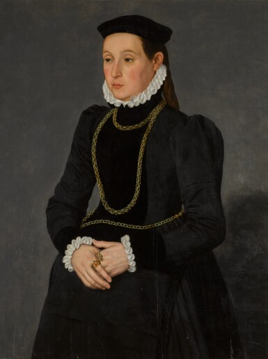 View 1. Thumbnail of Lot 321. Portrait of a lady, possibly Margaretha Mertha, wife of Hendrik Pilgram, three-quarter length, wearing black with gold chains.
