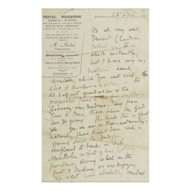 """VIRGINIA WOOLF   AUTOGRAPH LETTER SIGNED (""""V""""), TO HER NEPHEW QUENTIN CLAUDIAN STEPHEN BELL"""