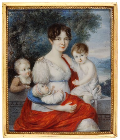View 1. Thumbnail of Lot 354. ANTON RICHTER   PORTRAIT OF COUNTESS ERDŐDY WITH THREE OF HER CHILDREN.