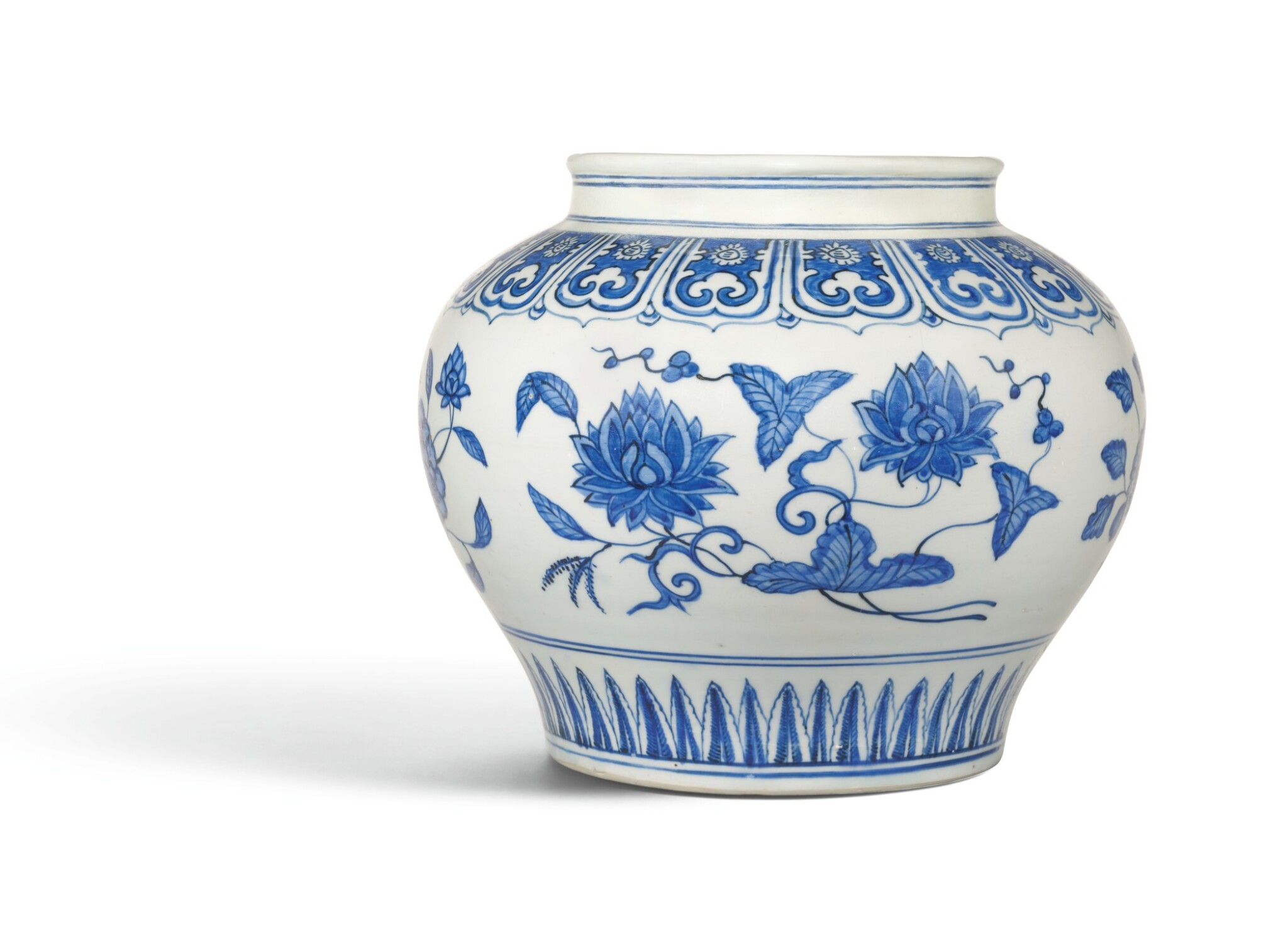View full screen - View 1 of Lot 4. A RARE BLUE AND WHITE 'FLORAL' JAR, JIAJING MARK AND PERIOD | 明嘉靖 青花花卉紋罐 《大明嘉靖年製》款.