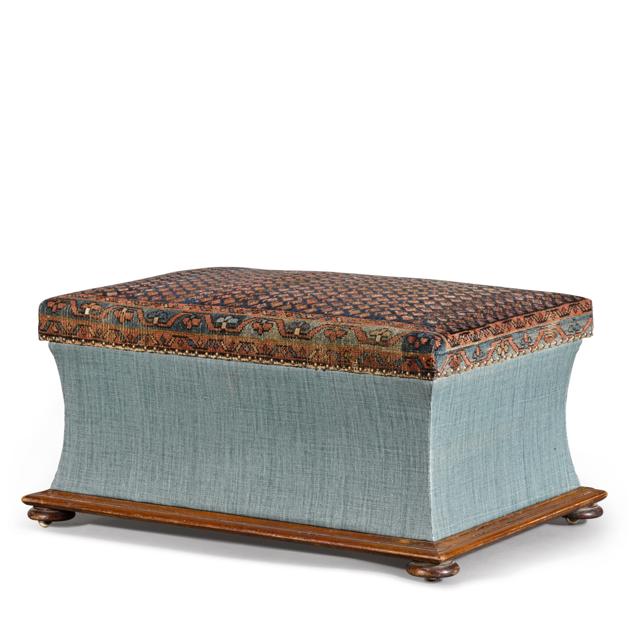 View full screen - View 1 of Lot 12. AN EARLY VICTORIAN UPHOLSTERED MAHOGANY OTTOMAN, CIRCA 1840.