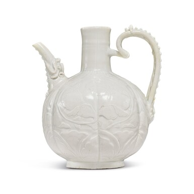 View 1. Thumbnail of Lot 185. A finely carved and molded 'Ding' ewer, Northern Song dynasty | 北宋 定窰白釉牡丹紋執壺.