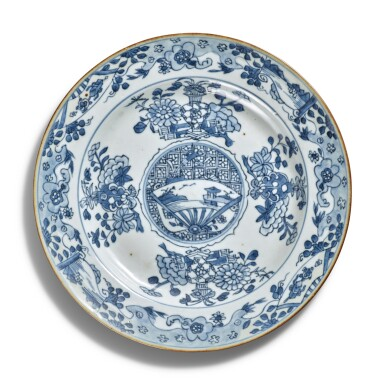 View 6. Thumbnail of Lot 40. A pair of blue and white 'dragon' dishes, Qing dynasty.