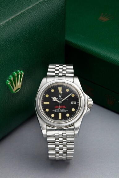 View 1. Thumbnail of Lot 125. REFERENCE 1665 'DOUBLE RED' SEA DWELLER A STAINLESS STEEL WRISTWATCH DATE AND BRACELET, CIRCA 1978.