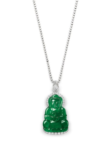 View 1. Thumbnail of Lot 1685. Jadeite 'Guanyin' and Diamond Pendent Necklace | 天然翡翠雕「觀音」配 鑽石 項鏈.