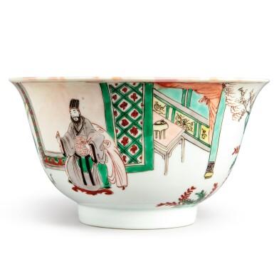 View 2. Thumbnail of Lot 144. A famille-verte 'figural' bowl, Qing dynasty, Kangxi period   清康熙 五彩人物故事圖盌  《大明成化年製》仿款.