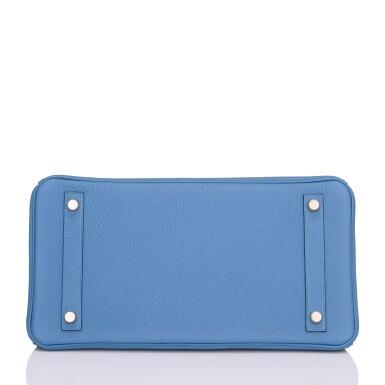 View 5. Thumbnail of Lot 22. Hermès Bleu Azur Birkin 30cm of Togo Leather with Gold Hardware.