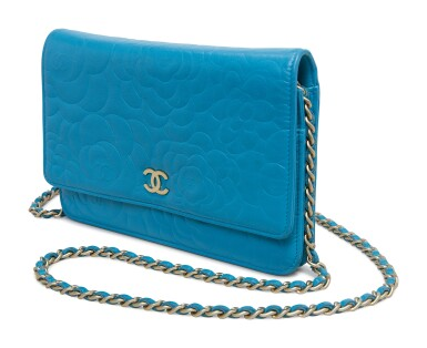 View 3. Thumbnail of Lot 20. CHANEL | LAMBSKIN CAMELLIA EMBOSSED WALLET ON CHAIN CIRCA 2017.