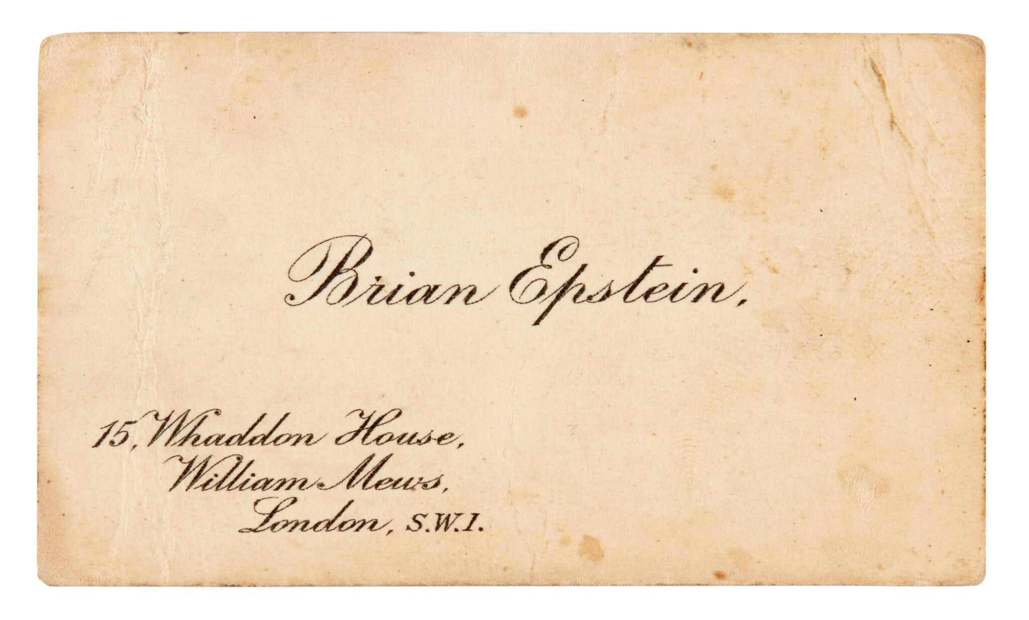 View full screen - View 1 of Lot 37. BRIAN EPSTEIN   Business card, c.1964.
