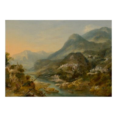 JAN GRIFFIER THE ELDER | A MOUNTAINOUS RIVER LANDSCAPE WITH FIGURES AND BOATS, AS WELL AS CASTLES IN THE DISTANCE