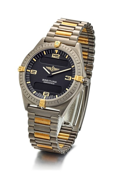View 2. Thumbnail of Lot 8266. BREITLING | AEROSPACE, REFERENCE F 56060, A TITANIUM CALENDER CHRONOGRAPH WRISTWATCH WITH BRACELET, ALARM AND DUAL TIME ZONE, CIRCA 2002.