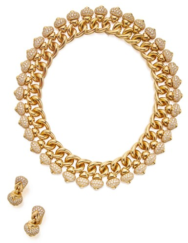 View 1. Thumbnail of Lot 354. GOLD AND DIAMOND 'PIGNE' NECKLACE AND PAIR OF EARCLIPS, BULGARI.