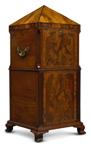 View 1. Thumbnail of Lot 18. A GEORGE III MAHOGANY CELLARETTE, LATE 18TH CENTURY.
