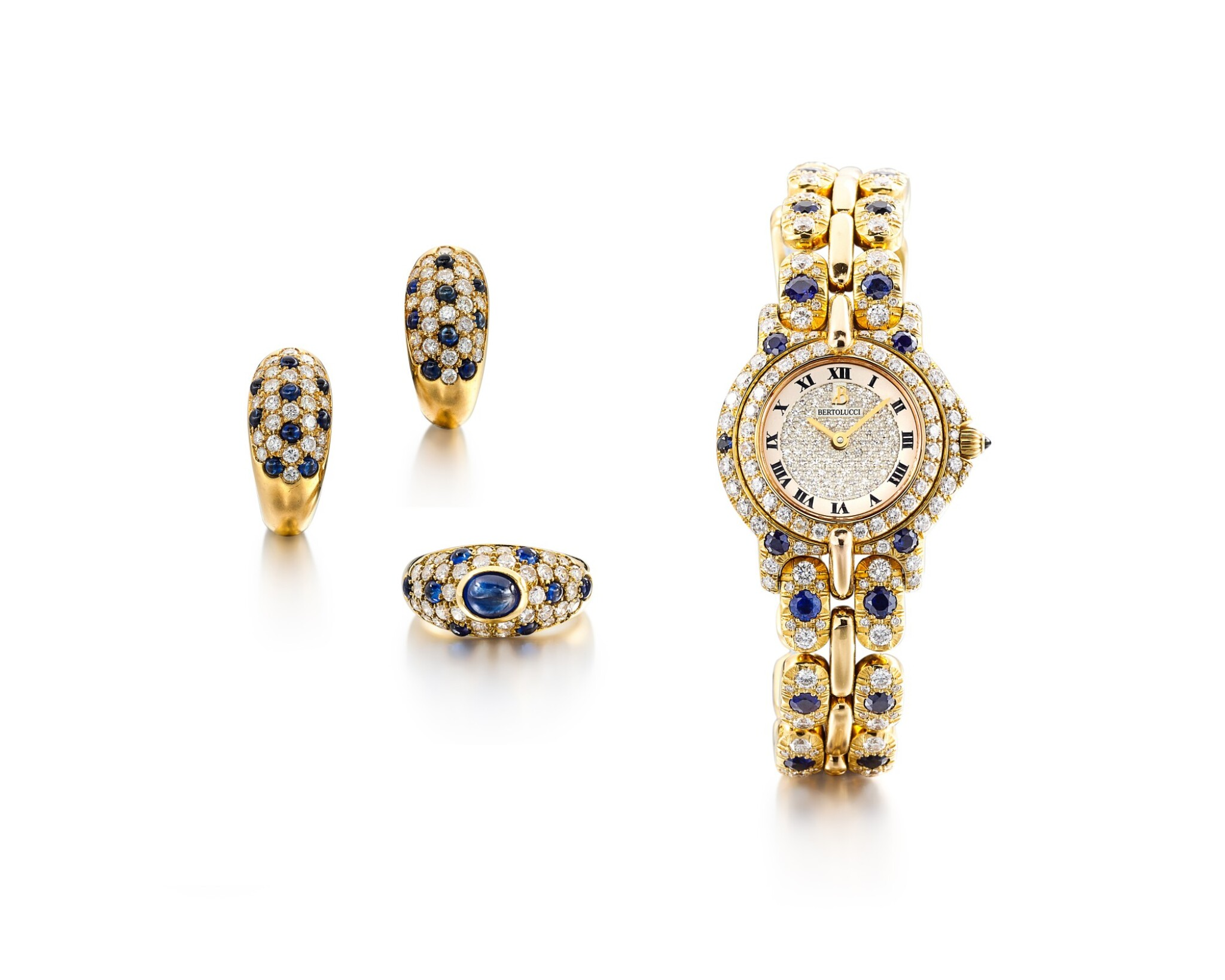 View full screen - View 1 of Lot 1612. Diamond and Sapphire Demi-Parure and 'Pulchra' Wristwatch | 卡地亞及Bertolucci | 鑽石 配 藍寶石 戒指及耳環套裝 及'Pulchra' 腕錶.