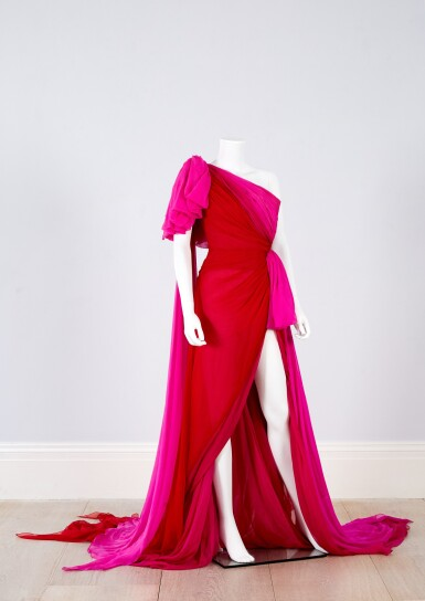 View 3. Thumbnail of Lot 35. Red and Fuchsia Pink Silk Chiffon Asymmetrically Draped Couture Gown, Worn by Marisa Tomei for the 2019 Emmy Awards, Autumn-Winter 2019/20 Collection.