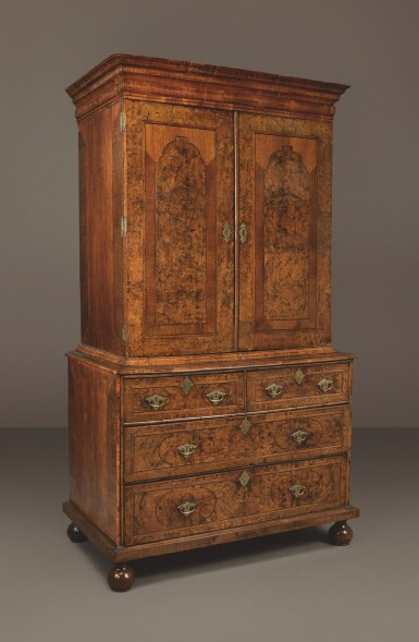 View 3. Thumbnail of Lot 529. A GEORGE I 'MULBERRY' WOOD AND WALNUT CABINET ON CHEST, FIRST QUARTER 18TH CENTURY.