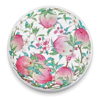 View 1. Thumbnail of Lot 3656. A superbly enamelled and possibly unique famille-rose 'peach' box and cover, Mark and period of Yongzheng   清雍正 粉彩蟠桃獻壽圖圓蓋盒 《大清雍正年製》款.