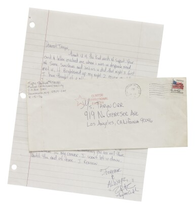 View 1. Thumbnail of Lot 90. TUPAC SHAKUR | AUTOGRAPH LETTER SIGNED, NEW YORK, 1995..