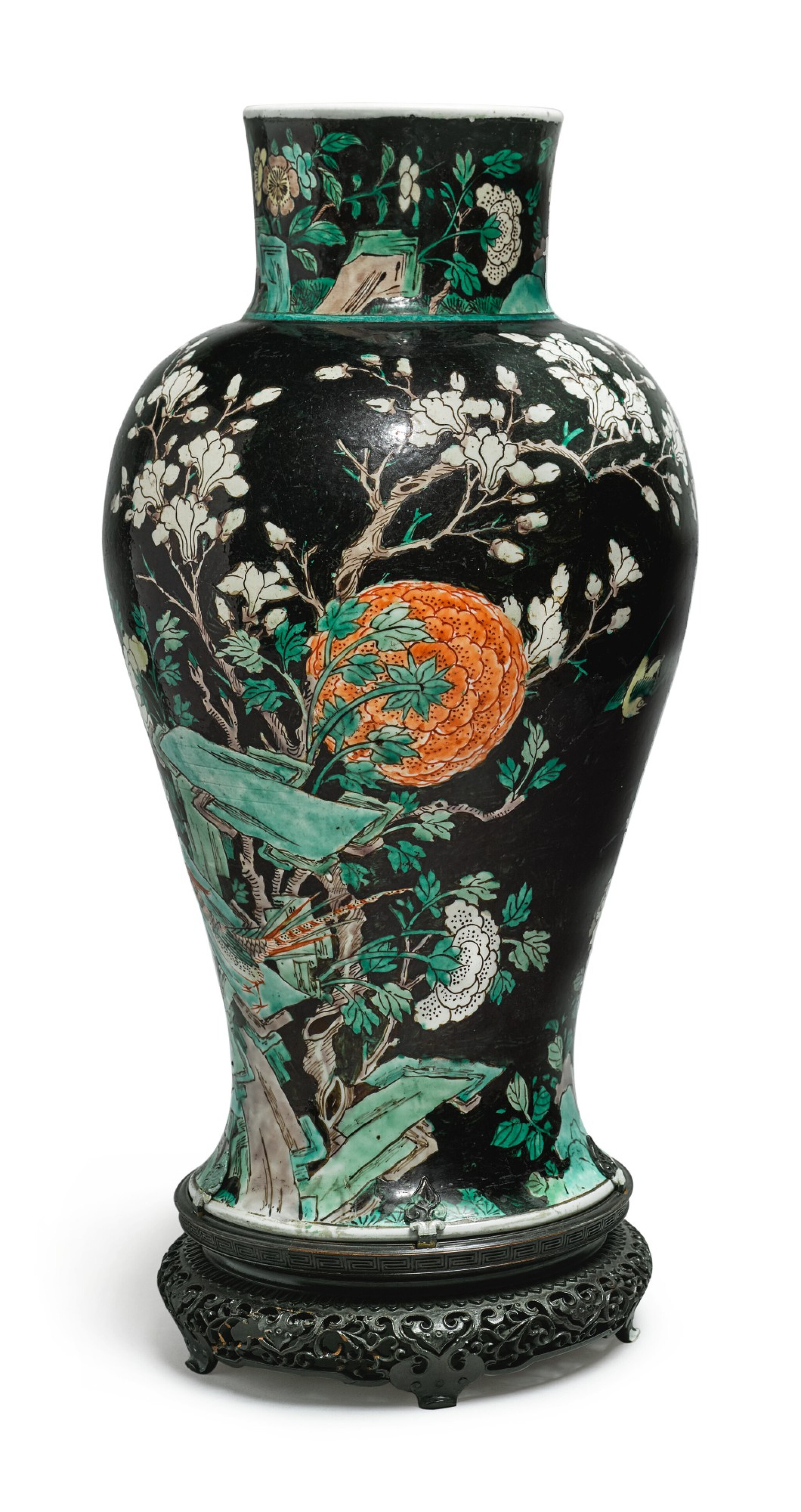 View full screen - View 1 of Lot 1038. A FAMILLE-NOIRE 'BIRD AND FLOWER' BALUSTER JAR, QING DYNASTY, 19TH CENTURY.
