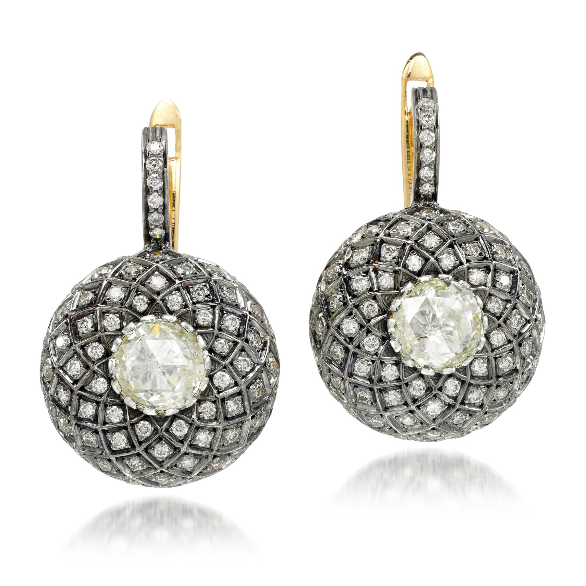 View 1 of Lot 26. Pair of diamond earrings, 'Indo Russian'.