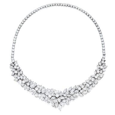 View 1. Thumbnail of Lot 37. Van Cleef & Arpels   Diamond Necklace-Bracelet Combination.