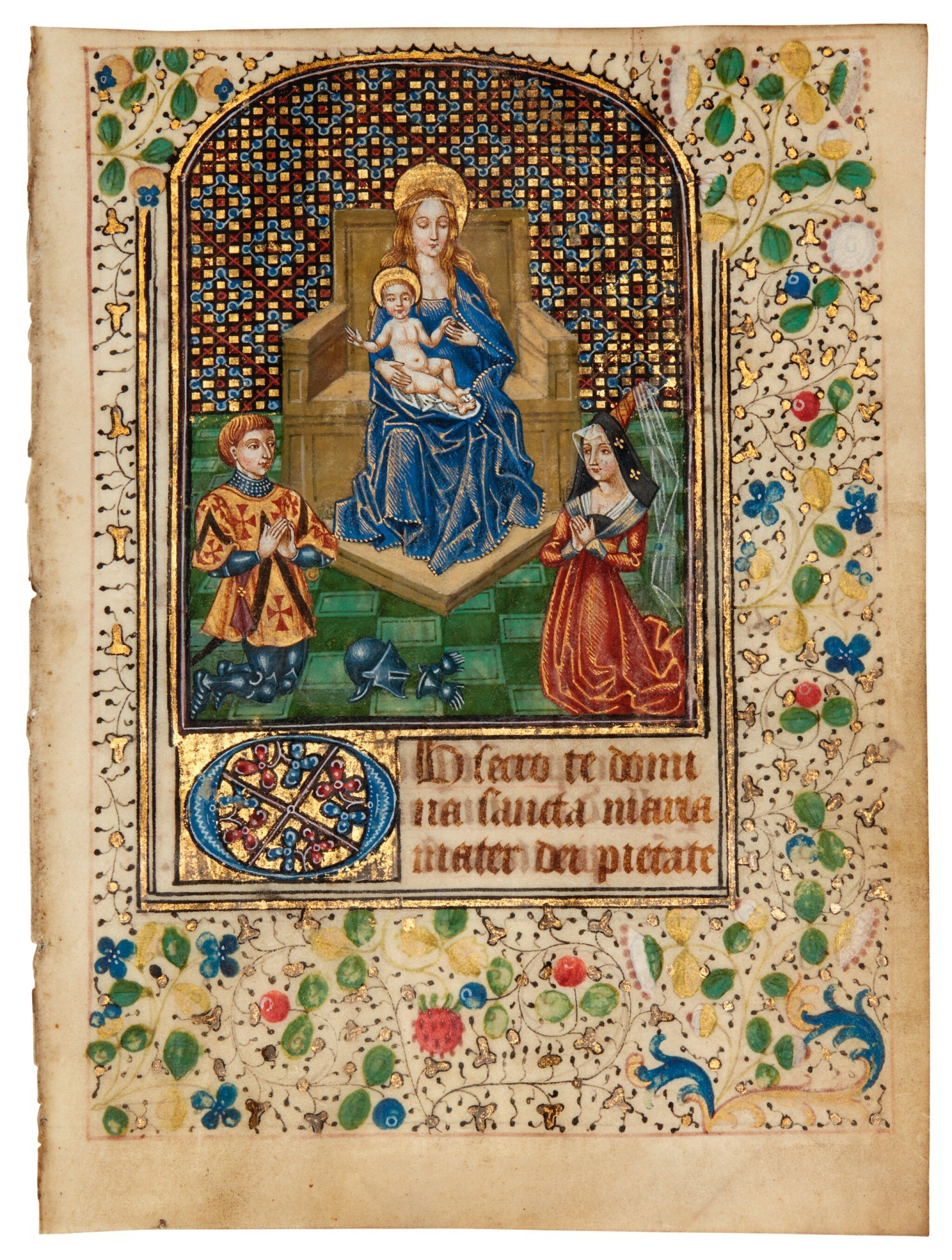View full screen - View 1 of Lot 10. Spanish Forger. A miniature added to a leaf from a C15 Book of Hours, in Latin, late C19 or early C20.