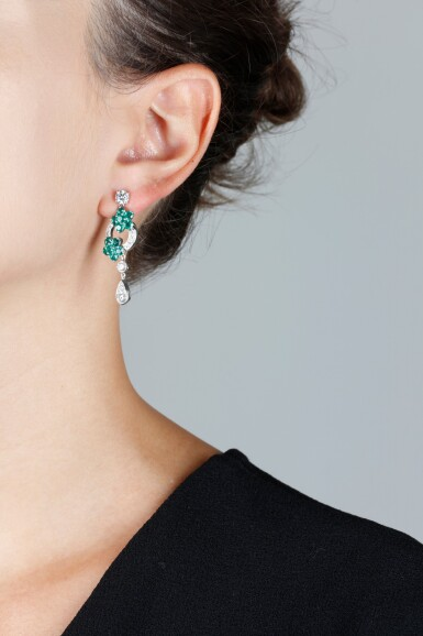 View 4. Thumbnail of Lot 142. GRAFF   PAIR OF EMERALD AND DIAMOND EARRINGS.
