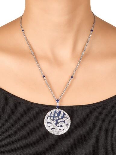 View 4. Thumbnail of Lot 1035. 'Wave' Sapphire and Diamond Pendent Necklace | 格拉夫| 'Wave' 藍寶石 配 鑽石 項鏈 (藍寶石及鑽石共重約11.30及11.90克拉).