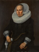 FOLLOWER OF MICHAEL JANSZ. VAN MIEREVELDT | Portrait of a lady, three-quarter-length, in a black embroidered dress with a ruff and lace cuffs and cap, a handkerchief in her hand
