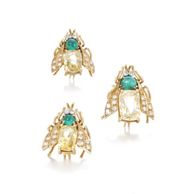 View 1. Thumbnail of Lot 39. Three yellow sapphire, emerald and diamond brooches.