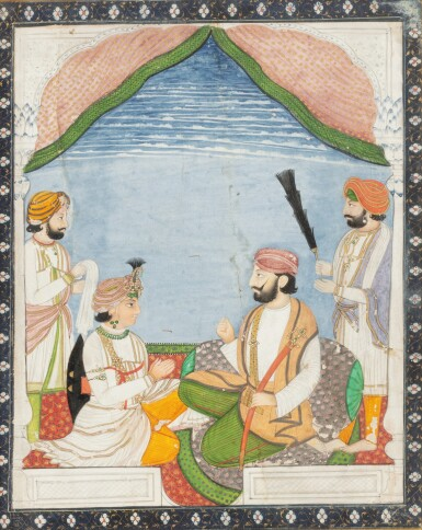 View 7. Thumbnail of Lot 66. INDIA, RAJASTHAN AND PUNJAB, 19TH CENTURY | TWO PORTRAITS AND TWO GATHERINGS.