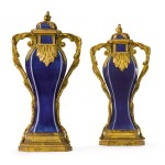A pair of Louis XVI gilt-bronze mounted Chinese blue porcelain baluster vases, the mounts circa 1780, the porcelain Qing dynasty, Qianlong (1736-1795)