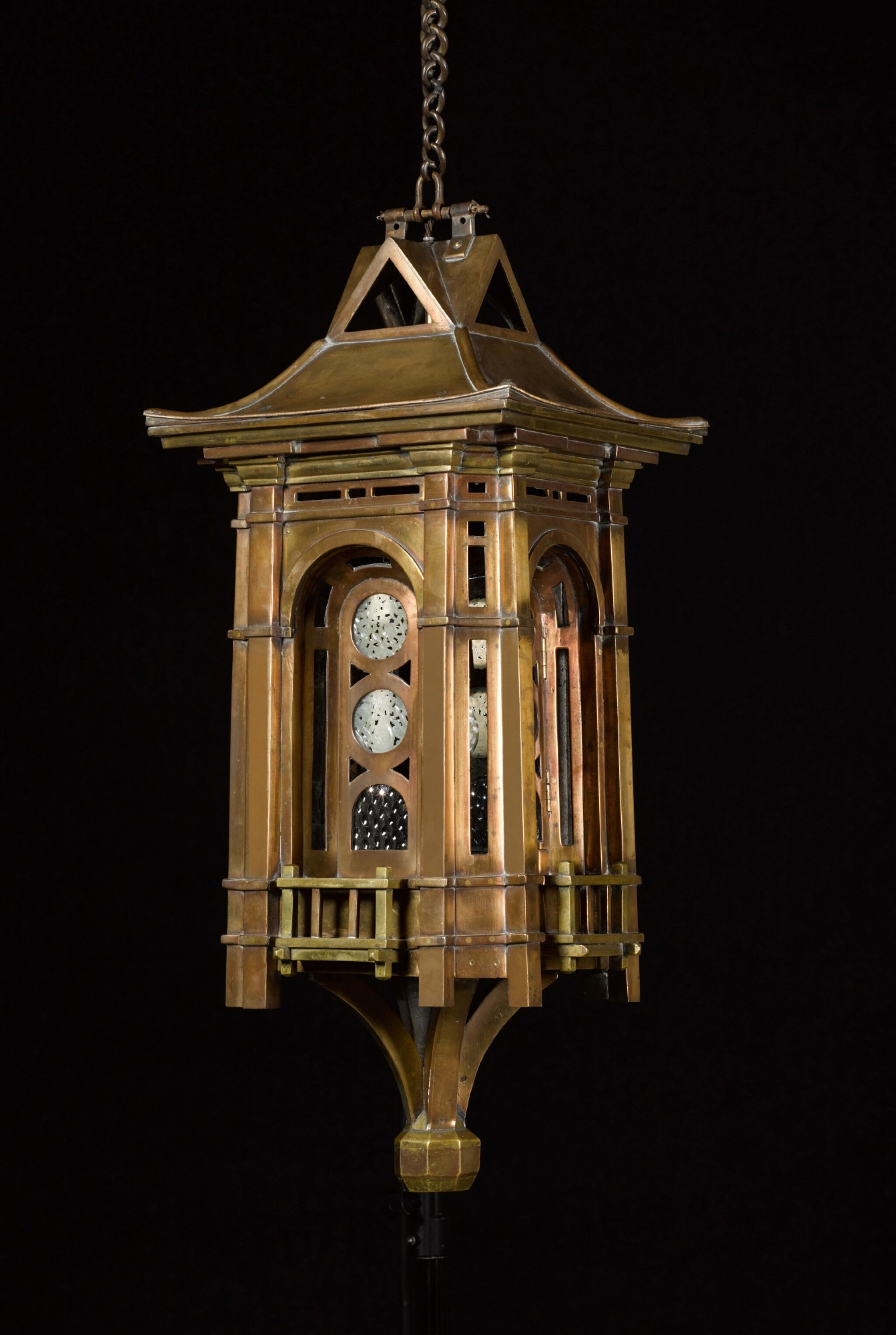 View full screen - View 1 of Lot 142. AN AESTHETIC PERIOD BRONZE, BRASS AND JADE MOUNTED HALL LANTERN, ENGLISH, CIRCA 1870, THE DESIGN ATTRIBUTED TO E. W. GODWIN (1833-1886).