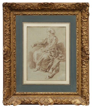 View 2. Thumbnail of Lot 19. FRANÇOIS BOUCHER | STUDY OF A SEATED WOMAN WITH SCARF, FOR L'ÉDUCATION DE LA VIERGE.