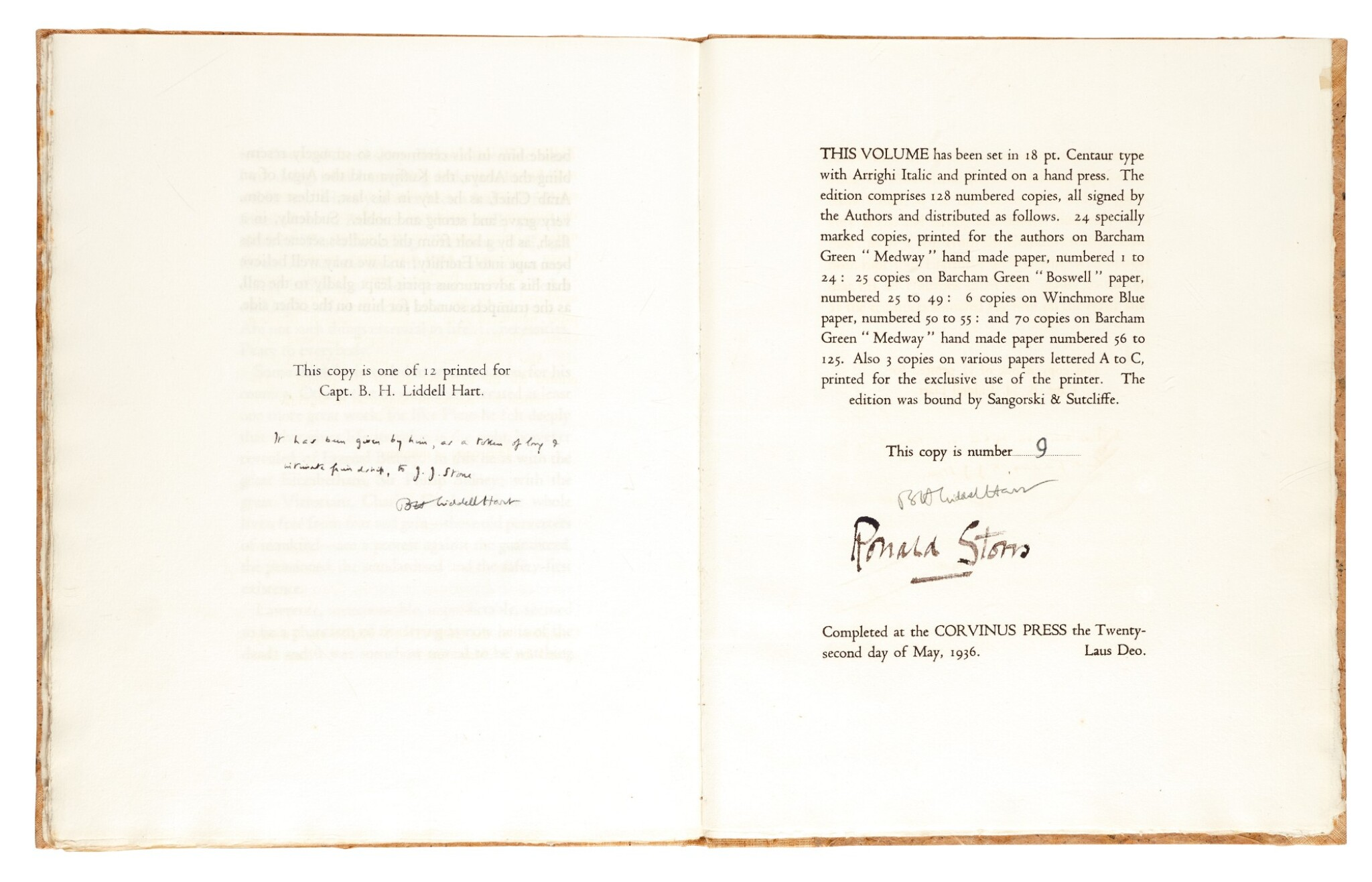 View full screen - View 1 of Lot 120. [LAWRENCE, T.E.]--HART and STORRS   Lawrence of Arabia, 1936, no. 9/12 copies.