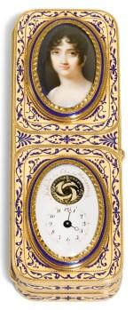 A GOLD AND ENAMEL PORTRAIT BOX WITH TIMEPIECE, JACQUES-ALEXANDRE GUILLEMOT, PARIS, 1798-1809