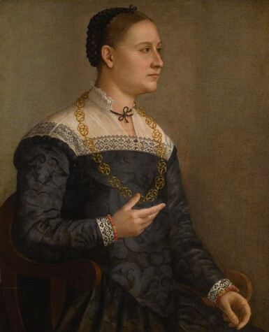 BERNADINO GATTI, CALLED IL SOJARO | Portrait of a lady wearing an embroidered black dress and a gold chain
