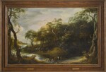 ADRIAEN VAN STALBEMT   WOODED RIVER LANDSCAPE WITH TOBIAS AND THE ANGEL