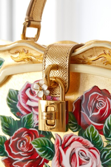 View 9. Thumbnail of Lot 43. Enamel Flower Embellished Limited Edition Box Bag in Golden Hand-Painted Wood with Vintage Plated Brass Hardware, Spring/Summer 2021.