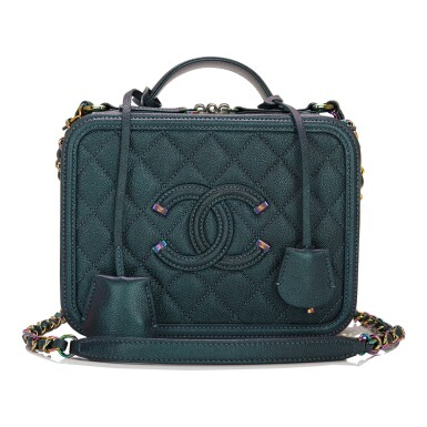 View 1. Thumbnail of Lot 119. Chanel Dark Turquoise Medium Filigree Vanity Case of Grained Metallic Lambskin Leather with Iridescent Hardware.