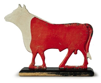 CAST-IRON AND RED AND WHITE PAINTED BULL WINDMILL WEIGHT, POSSIBLY FAIRBURY WINDMILL COMPANY, FAIRBURY, NEBRASKA, LATE 19TH TO EARLY 20TH CENTURY