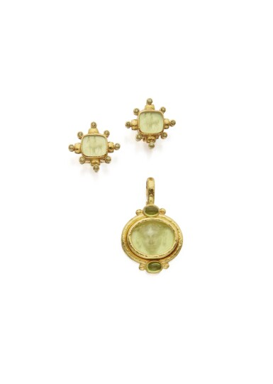 GOLD, PERIDOT, MOTHER-OF-PEARL AND GLASS PENDANT AND PAIR OF EARCLIPS, ELIZABETH LOCKE