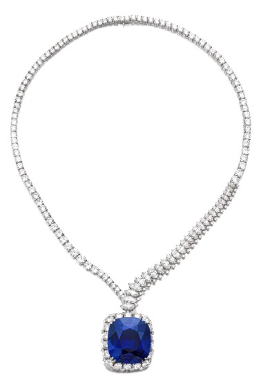 View 2. Thumbnail of Lot 178. Harry Winston | Exceptional and important sapphire and diamond necklace | 海瑞溫斯頓 | 藍寶石配鑽石項鏈.