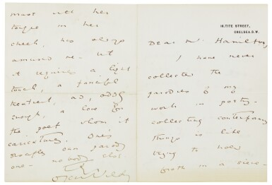 View 1. Thumbnail of Lot 27.  WILDE   Autograph letter signed, to Walter Hamilton, [1889] .