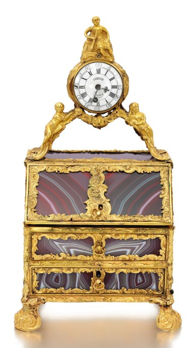View 1. Thumbnail of Lot 7. A GOLD-MOUNTED HARDSTONE NECESSAIRE IN THE MANNER OF JAMES COX, ENGLISH, CIRCA 1770.