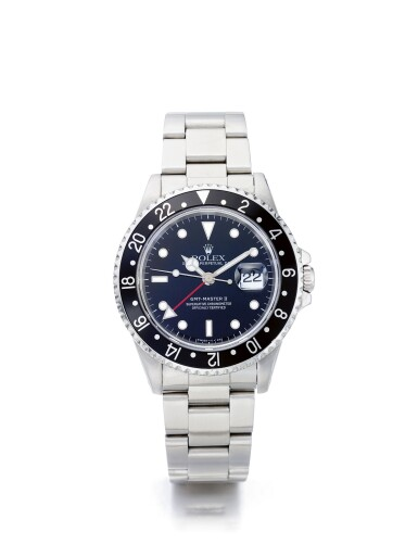 View 1. Thumbnail of Lot 50. ROLEX | GMT-MASTER REF 16710, A STAINLESS STEEL AUTOMATIC DUAL TIME WRISTWATCH WITH DATE AND BRACELET CIRCA 1996.