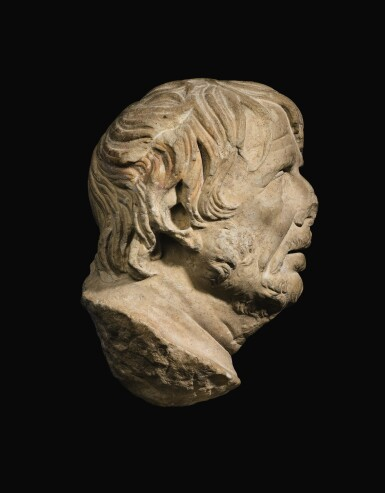 View 2. Thumbnail of Lot 39. A ROMAN MARBLE HEAD OF A GREEK POET, PROBABLY HESIOD, CIRCA 1ST CENTURY A.D..