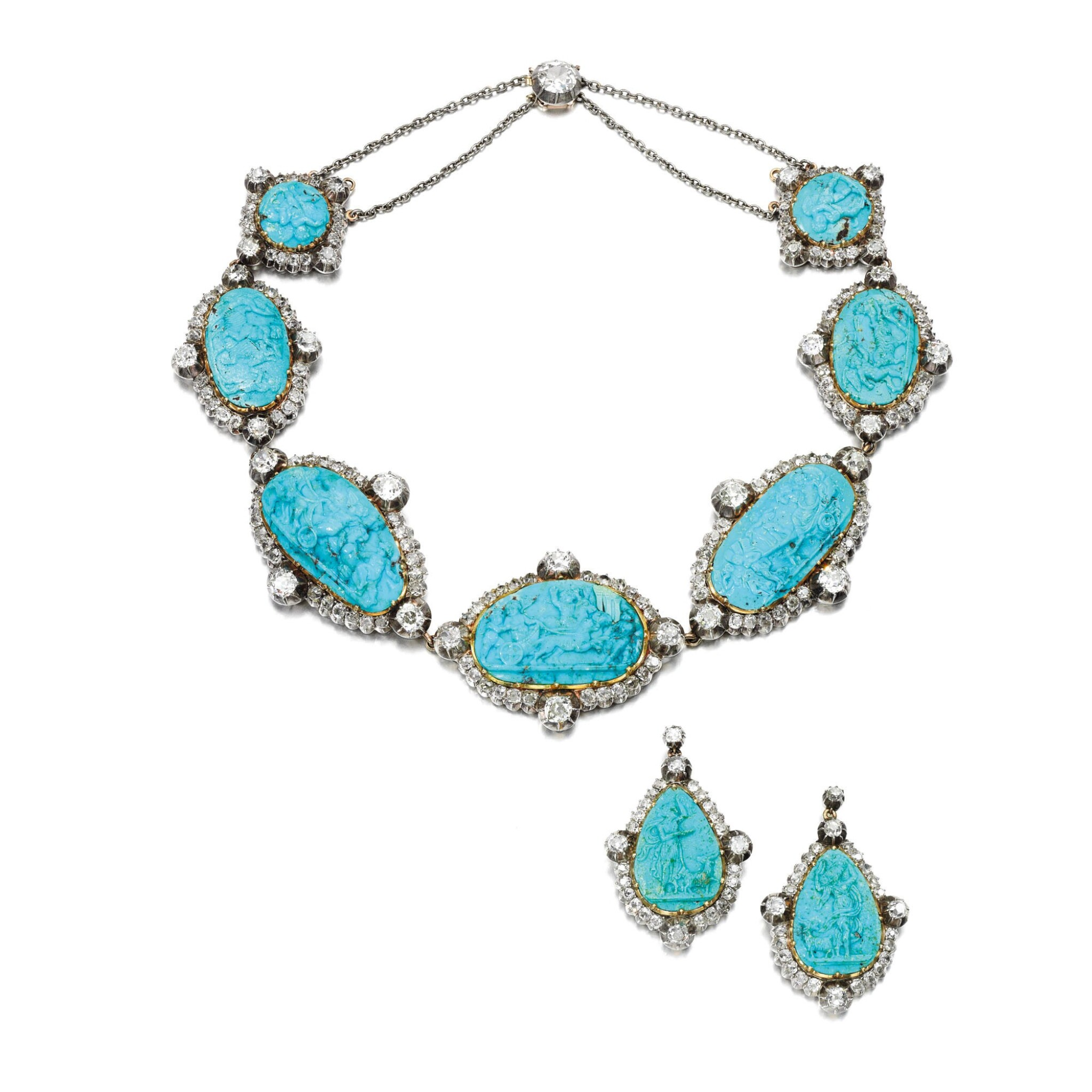 View full screen - View 1 of Lot 272. TURQUOISE CAMEO AND DIAMOND DEMI-PARURE, MID 19TH CENTURY.